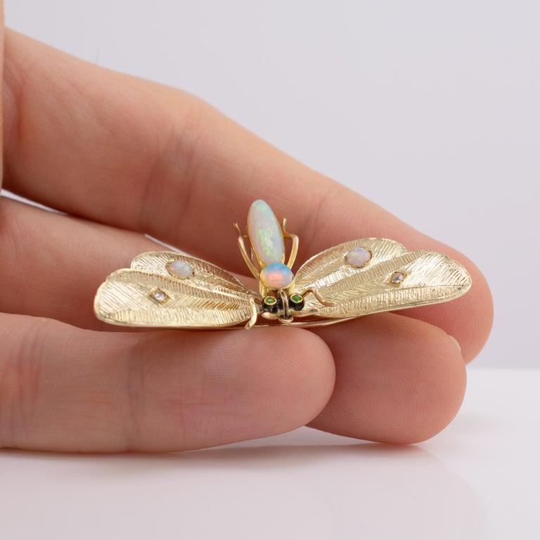 Women's Genuine Art Nouveau Opal Butterfly Brooch Diamonds Garnets 14 Karat Gold Signed For Sale