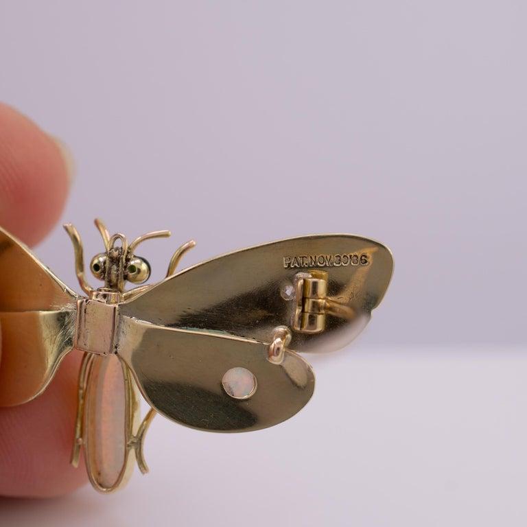 Genuine Art Nouveau Opal Butterfly Brooch Diamonds Garnets 14 Karat Gold Signed For Sale 1