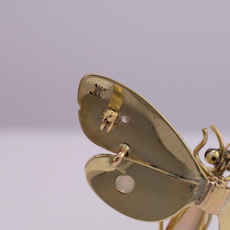 Genuine Art Nouveau Opal Butterfly Brooch Diamonds Garnets 14 Karat Gold Signed For Sale 2