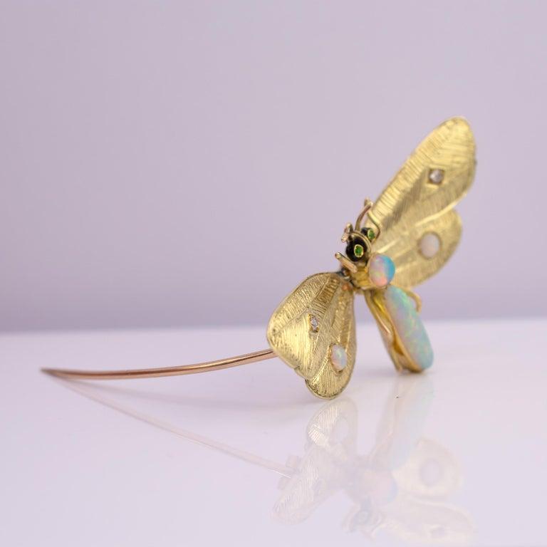 Genuine Art Nouveau Opal Butterfly Brooch Diamonds Garnets 14 Karat Gold Signed For Sale 3