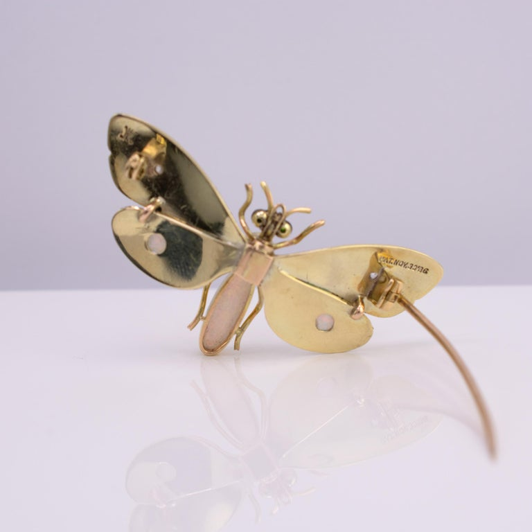 Genuine Art Nouveau Opal Butterfly Brooch Diamonds Garnets 14 Karat Gold Signed For Sale 4