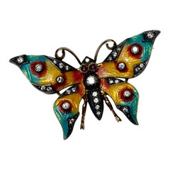 Art Nouveau Butterfly Pendant Brooch 30 OMC Diamonds Ruby Enamel 18 Karat Gold