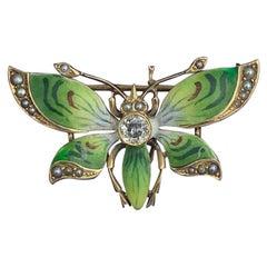 Art Nouveau Butterfly Pendant Brooch OMC Diamond Enamel 14 Karat Gold
