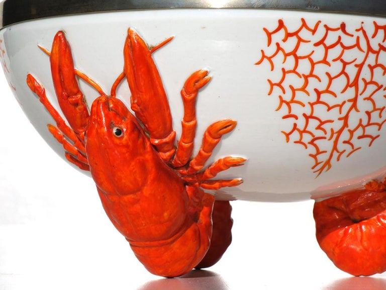 German Art Nouveau by WMF Lobster Pottery Porcelain Bowl For Sale
