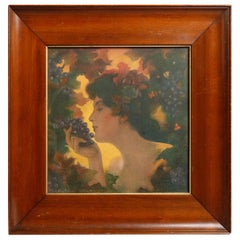Art Nouveau C. Allan Gilbert Paris School Portrait Print, Woman & Grapes