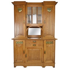Art Nouveau Cabinet / Buffet in Oak and Brassware Panels, France, circa 1910