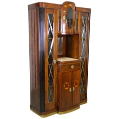 Art Nouveau Cabinet/ Buffet with Faceted Glass Doors, Austria, circa 1910