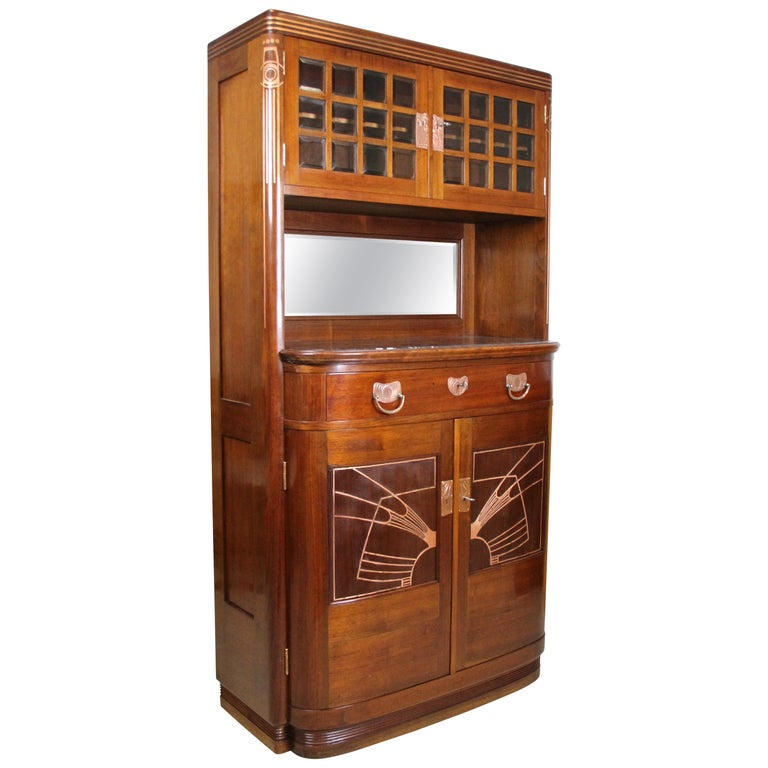 Art Nouveau Cabinet or Buffet by August Ungethüm Mahogany, Austria, circa 1900 For Sale