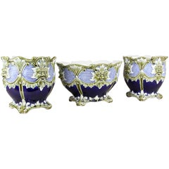Art Nouveau Cachepot Garniture of Three by J.B. De Bruyne, France, circa 1900