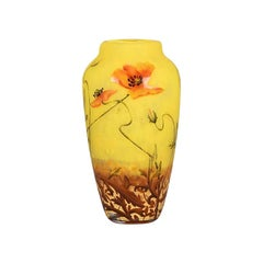 Art Nouveau Cameo Etched and Enamelled Glass Poppy Vase by Daum Freres