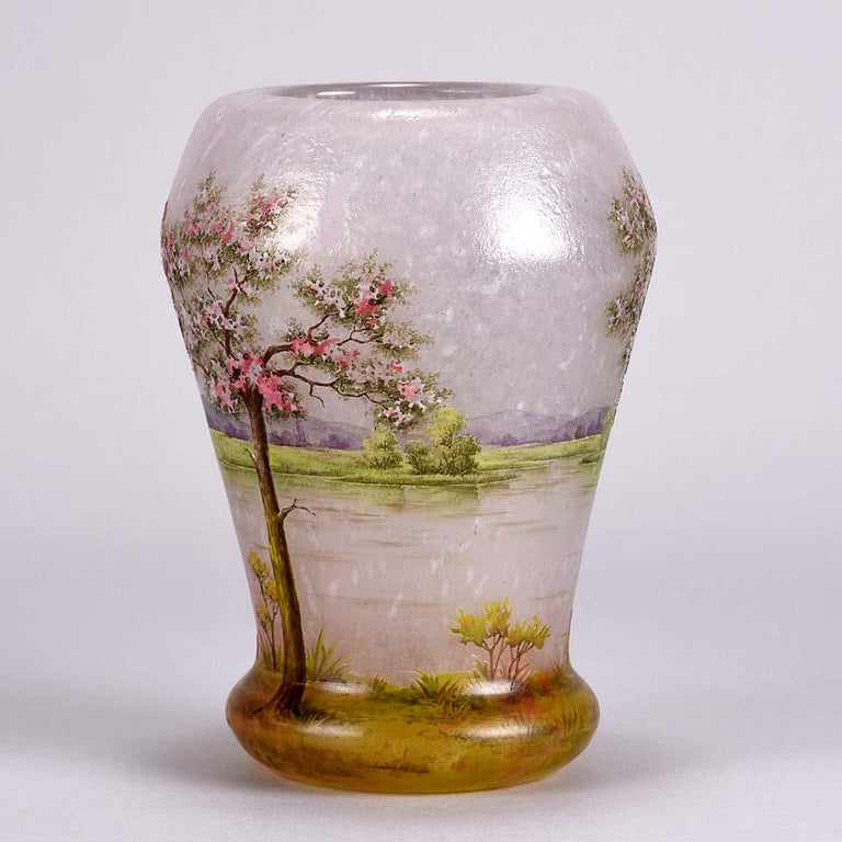 Art Nouveau Cameo Etched and Enamelled Glass Vase 'Paysage Rose' by Daum  Freres