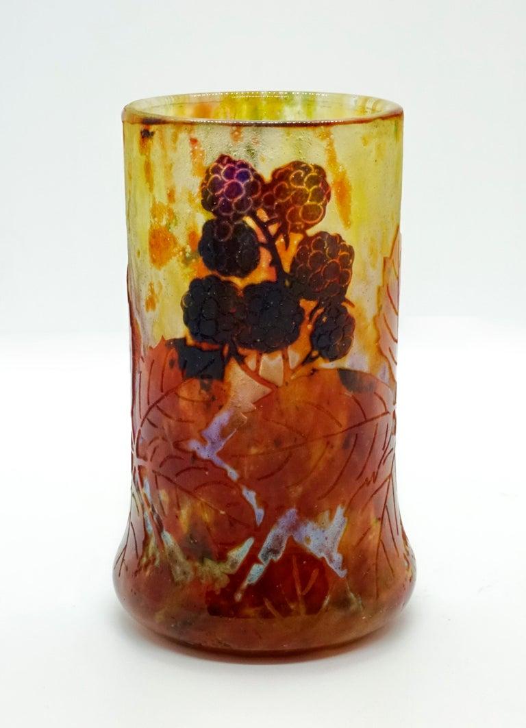 Etched Art Nouveau Cameo Vase with Blackberry Decor, Daum Nancy, France, 1900-1905 For Sale