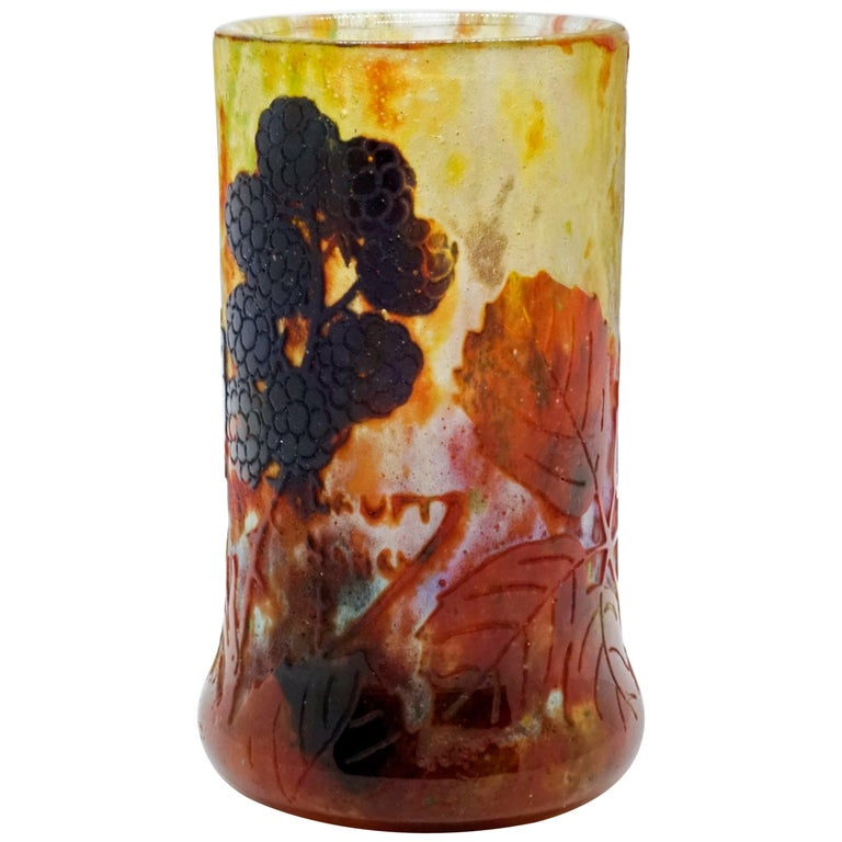 Art Nouveau Cameo Vase with Blackberry Decor, Daum Nancy, France, 1900-1905 For Sale