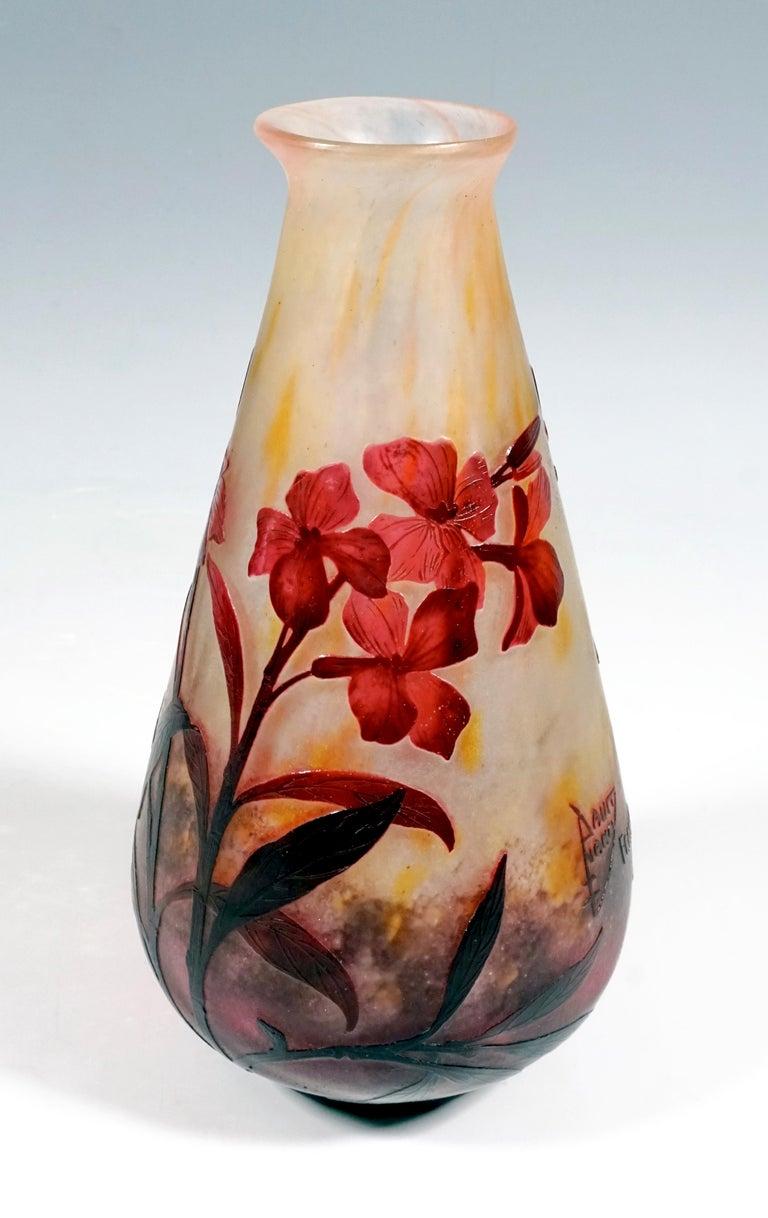 Etched Art Nouveau Cameo Vase with Dames-Wort Decor, Daum Nancy, France, 1910-1915 For Sale