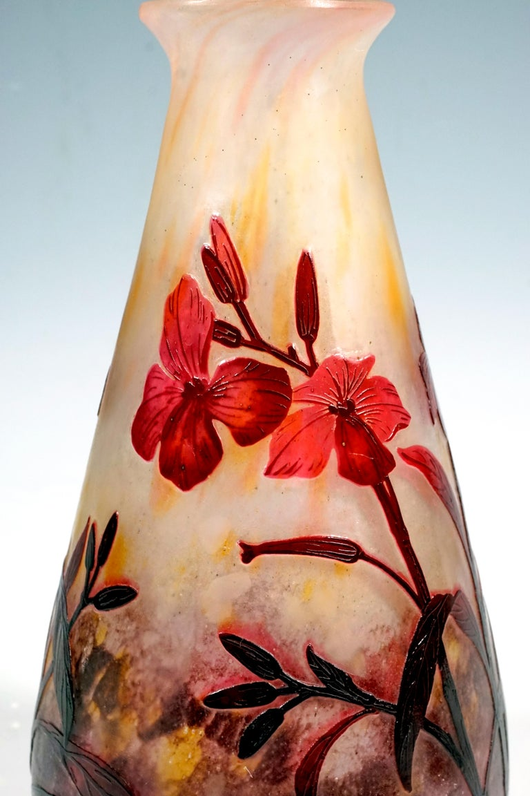 Art Nouveau Cameo Vase with Dames-Wort Decor, Daum Nancy, France, 1910-1915 In Good Condition For Sale In Vienna, AT