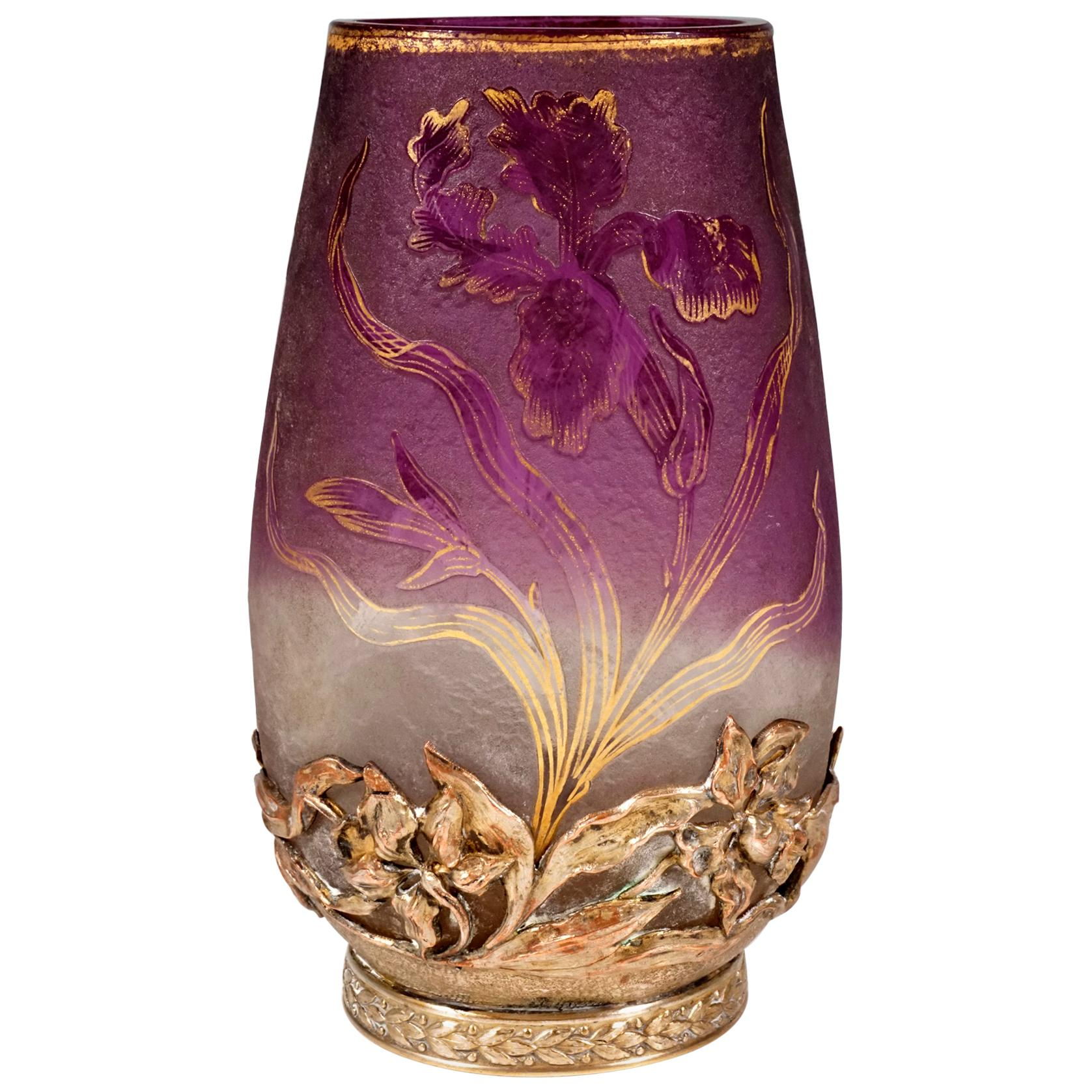 Art Nouveau Cameo Vase with Iris Decor & Mounting Daum Nancy, France, circa 1900