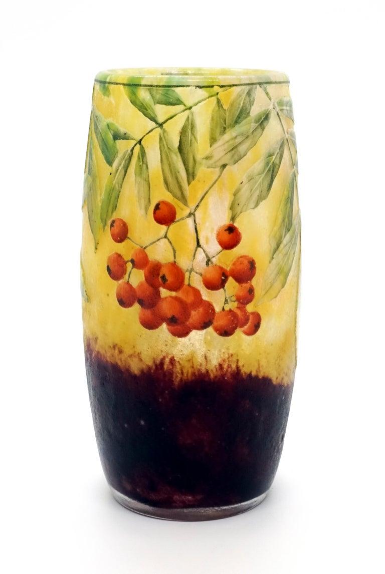 French Art Nouveau Cameo Vase with Sea Buckthorn Decor, Daum Nancy, France, 1900-1905 For Sale