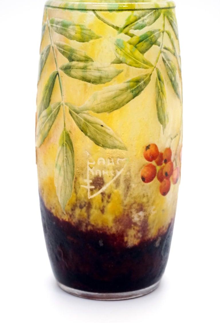 Etched Art Nouveau Cameo Vase with Sea Buckthorn Decor, Daum Nancy, France, 1900-1905 For Sale