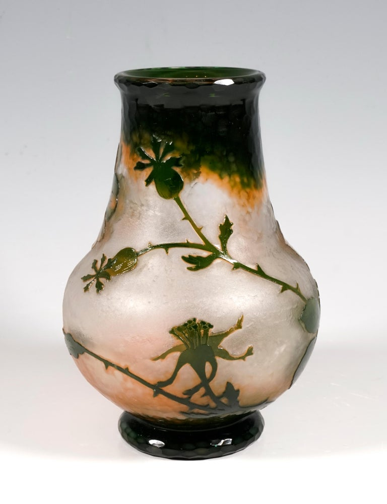 French Art Nouveau Cameo Vase with Wild Roses Decor, Daum Nancy, France, 1900-1904 For Sale