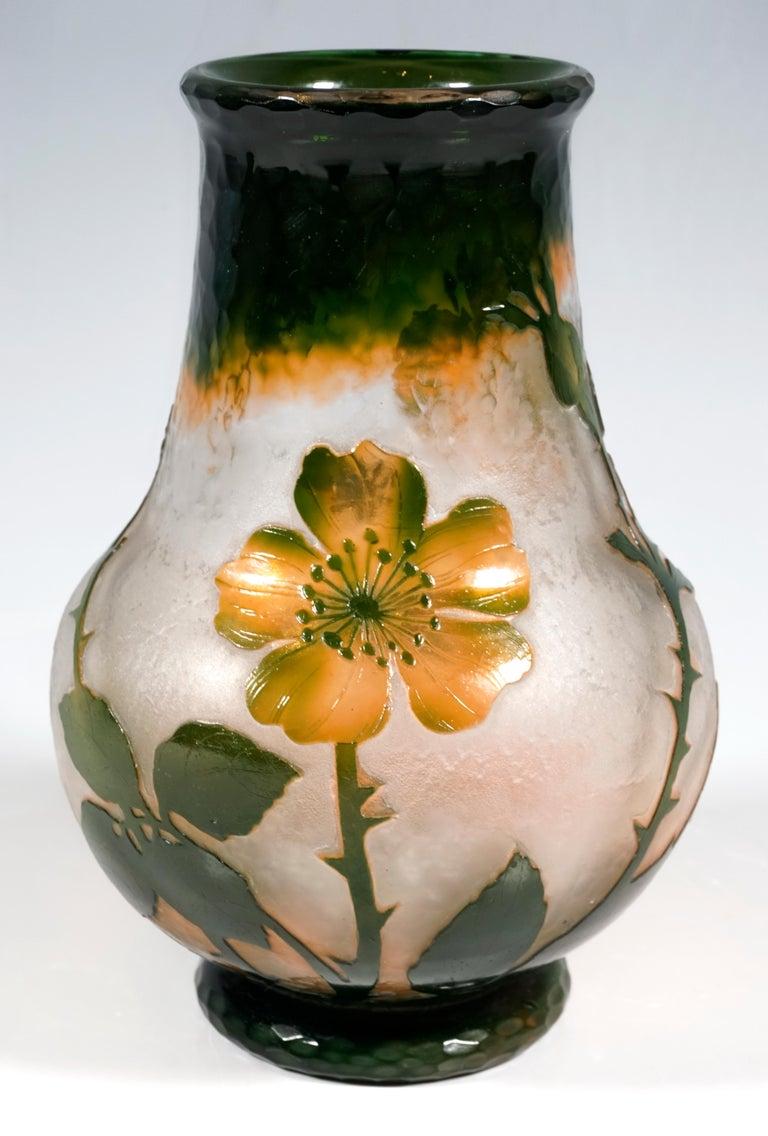 Etched Art Nouveau Cameo Vase with Wild Roses Decor, Daum Nancy, France, 1900-1904 For Sale