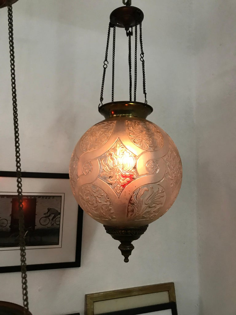 Late 19th or early 20th century glass lantern by Baccarat, France, signed in relife