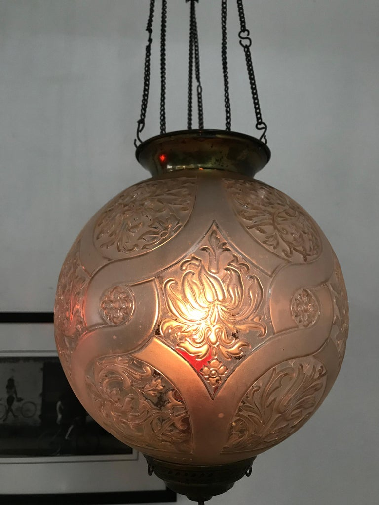 Art Nouveau Candle Lantern by Baccarat, France, circa 1890-1920 In Good Condition For Sale In Merida, Yucatan