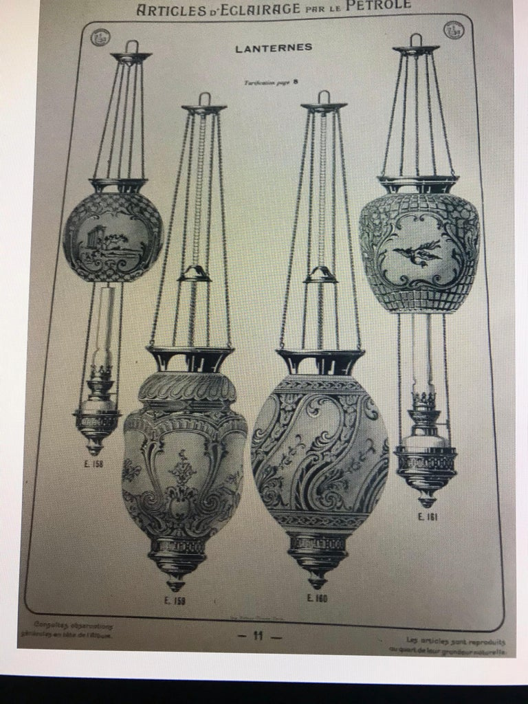 Bronze two Art Nouveau Candle Lantern by Baccarat, France, circa 1890-1920 For Sale