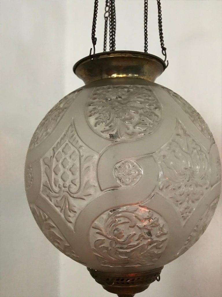 Bronze Art Nouveau Candle Lantern by Baccarat, France, circa 1890-1920 For Sale