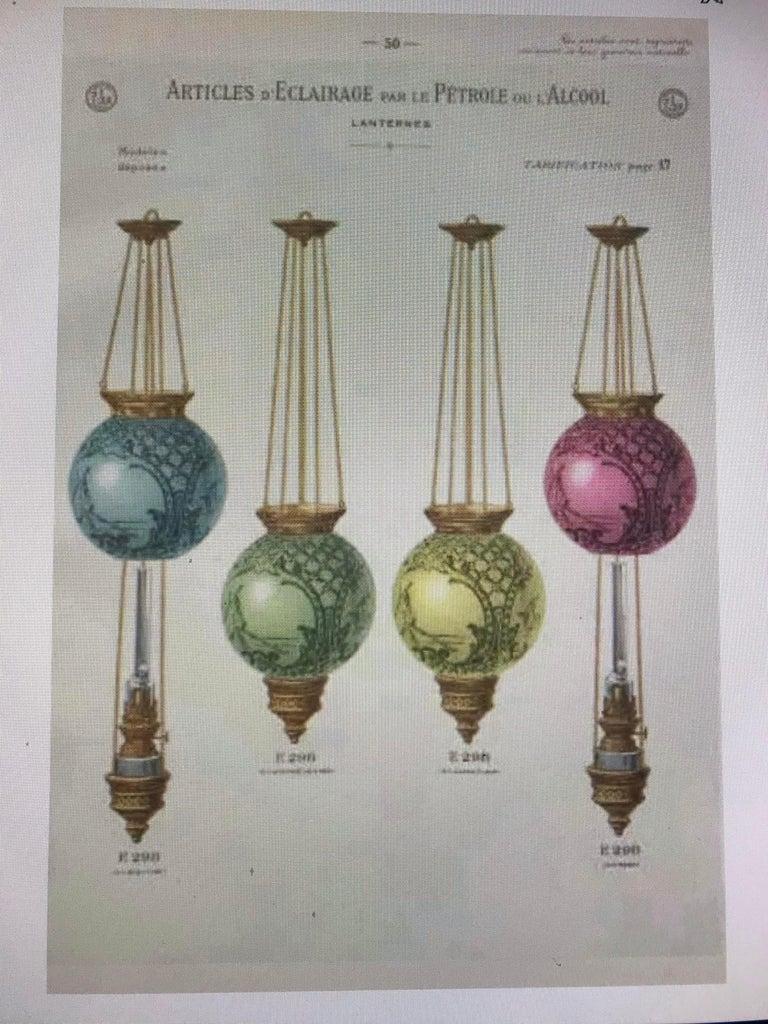 two Art Nouveau Candle Lantern by Baccarat, France, circa 1890-1920 For Sale 1
