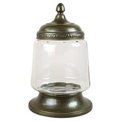 Art Nouveau Candy Glass Jar or Punch Bowl with Lid, Austria, circa 1910