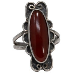 Art Nouveau Carnelian Sterling Silver Interlocking Statement Ring, 20th Century