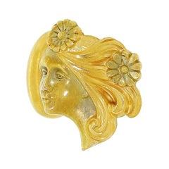 Art Nouveau Carter Gough & Co 14K Gold Figural Cufflinks Lady Gibson Girl Newark