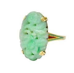 Art Nouveau Carved Jade Enamel 14 Karat Gold Floral Antique Ring
