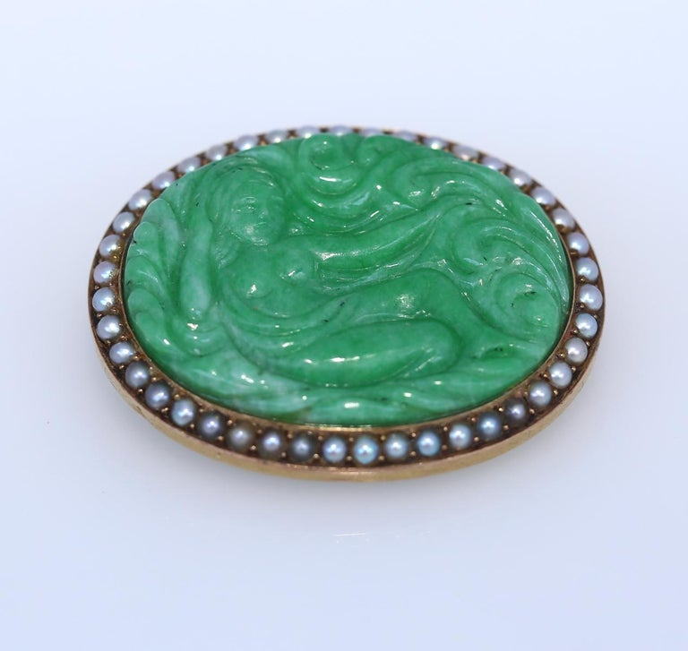 Oval Cut Art Nouveau Carved Jade Natural Pearls Erotic Russian Brooch, 1900 For Sale
