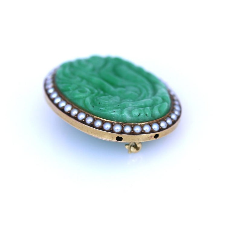Women's or Men's Art Nouveau Carved Jade Natural Pearls Erotic Russian Brooch, 1900 For Sale