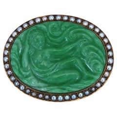 Art Nouveau Carved Jade Natural Pearls Erotic Russian Brooch, 1900