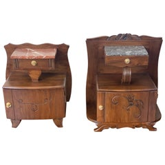 Art Nouveau Carved Nightstands / Bedside Tables with Marble Top, circa 1900
