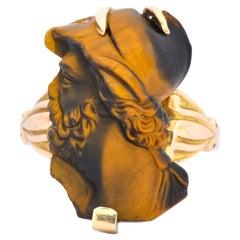 Art Nouveau Carved Tiger's Eye 14 Karat Gold Greek Hero Ring