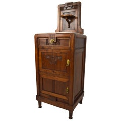 Art Nouveau Carved Walnut Nightstand / Bedside Table with Marble Top, circa 1900