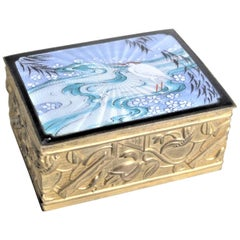 Art Nouveau Cast Bronze Box with Enameled Top & Asian Styled Bird & River Scene