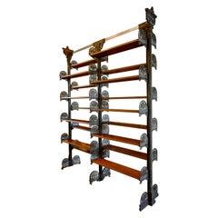 Art Nouveau Cast Iron and Wood Adjustable Book Shelves