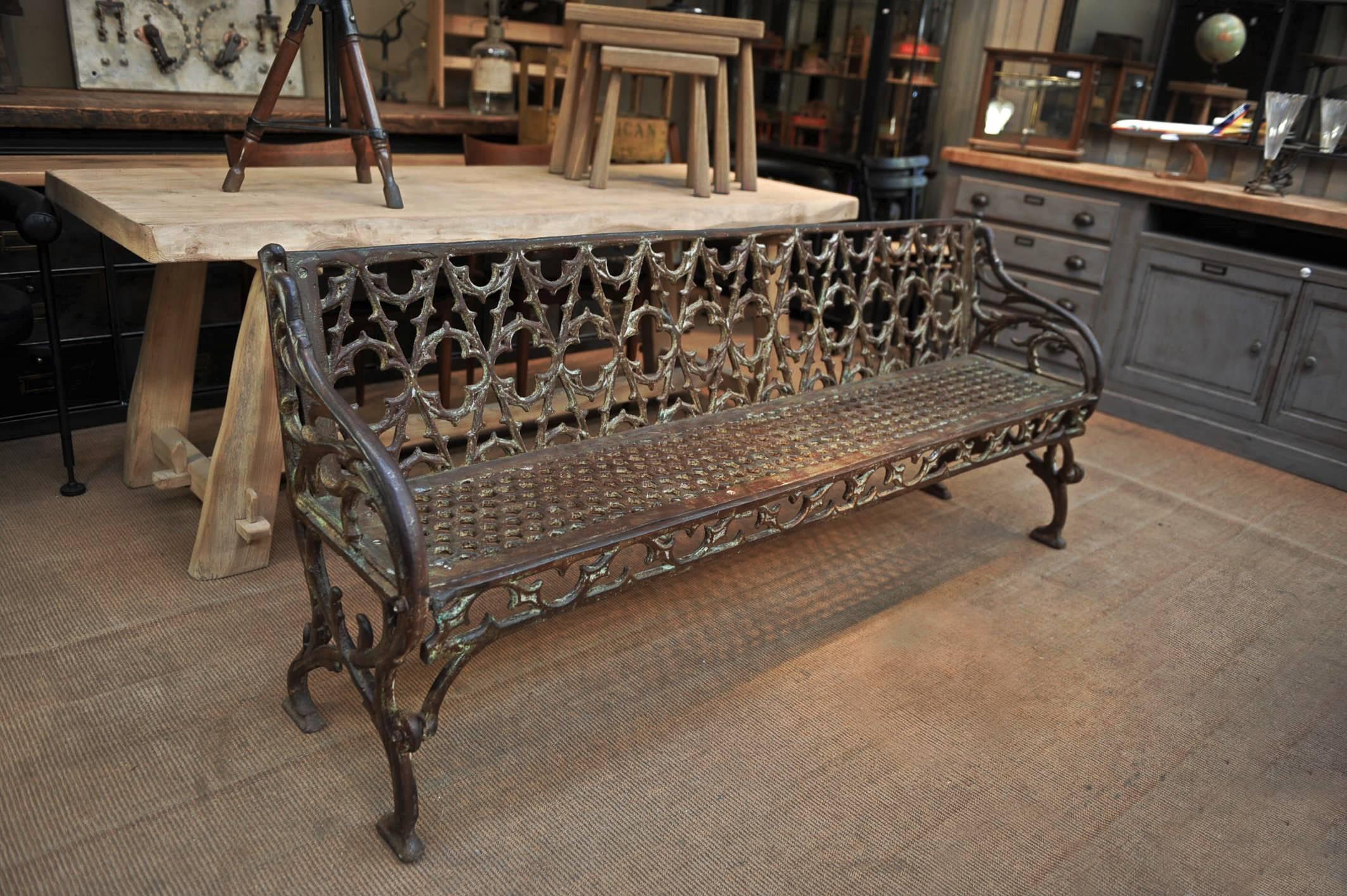 Rare Heavy Art Nouveau And Gothique Style Back French Garden Bench,  Original Patina, Circa