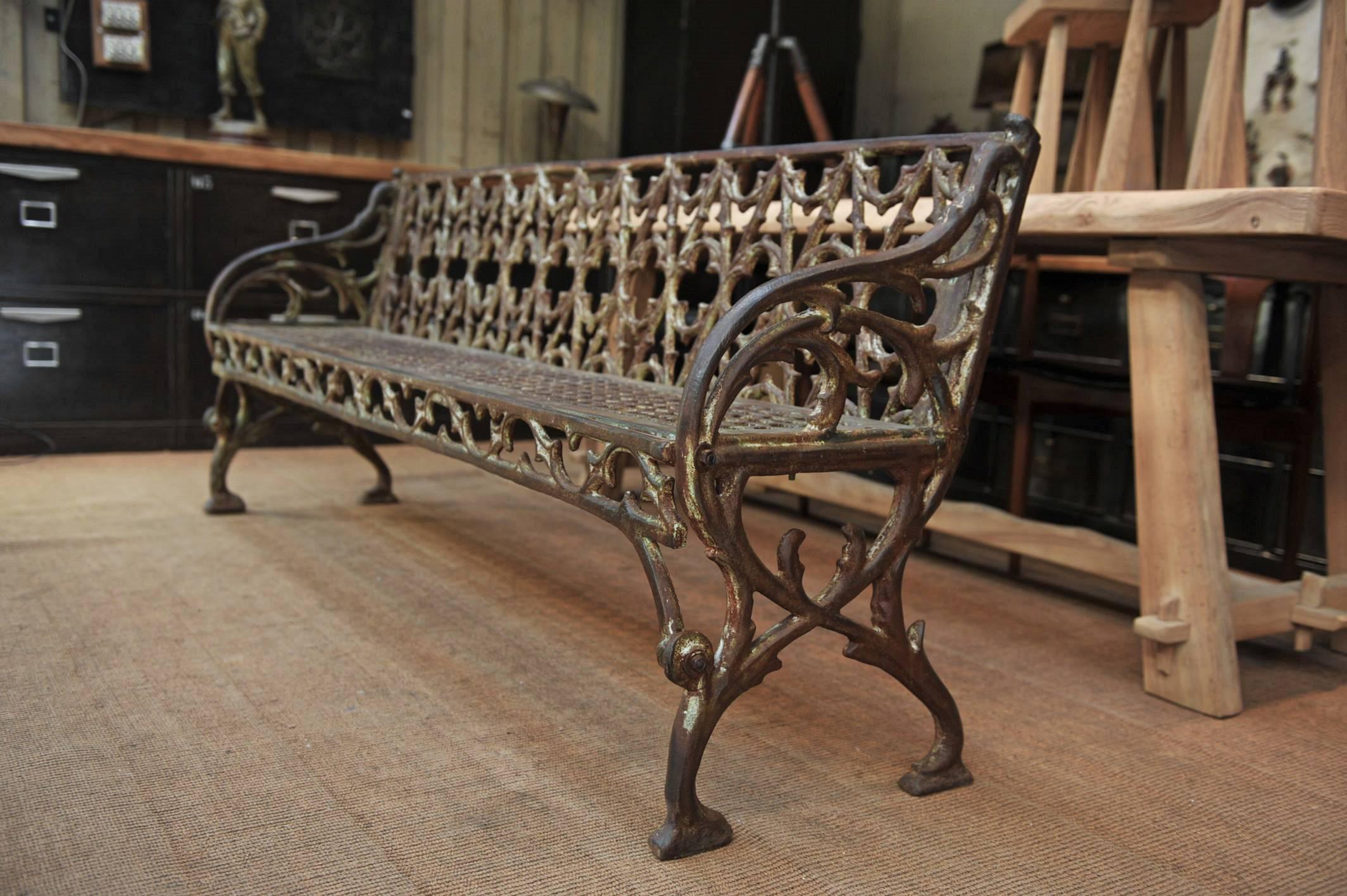 French Art Nouveau Cast Iron Garden Bench, Circa 1900 For Sale