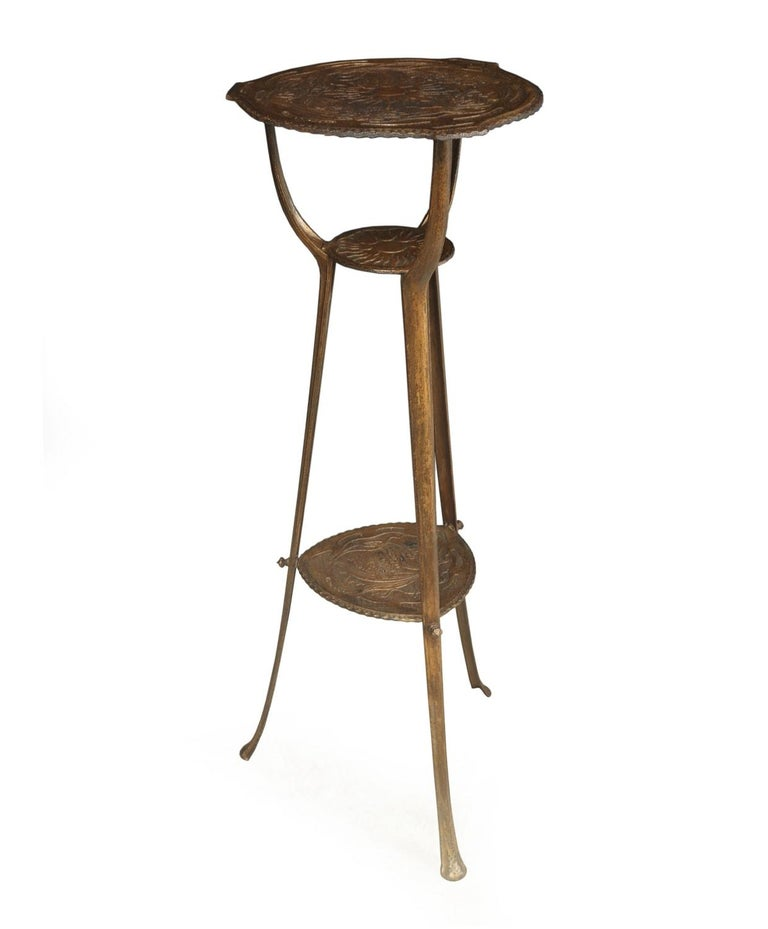 Art Nouveau cast iron jardinière stand