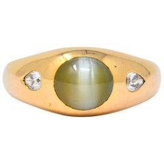 Art Nouveau Cat's Eye Chrysoberyl Diamond 14 Karat Gold Unisex Ring