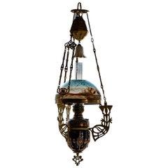 Art Nouveau Ceiling Kerosene Lamp with Hand-Painted Shade, Circa 1898
