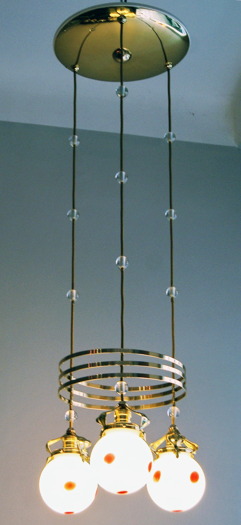 Art Nouveau Ceiling Lamp Chandelier Design Kolo Moser by Bakalowits, Vienna 1910 For Sale 4