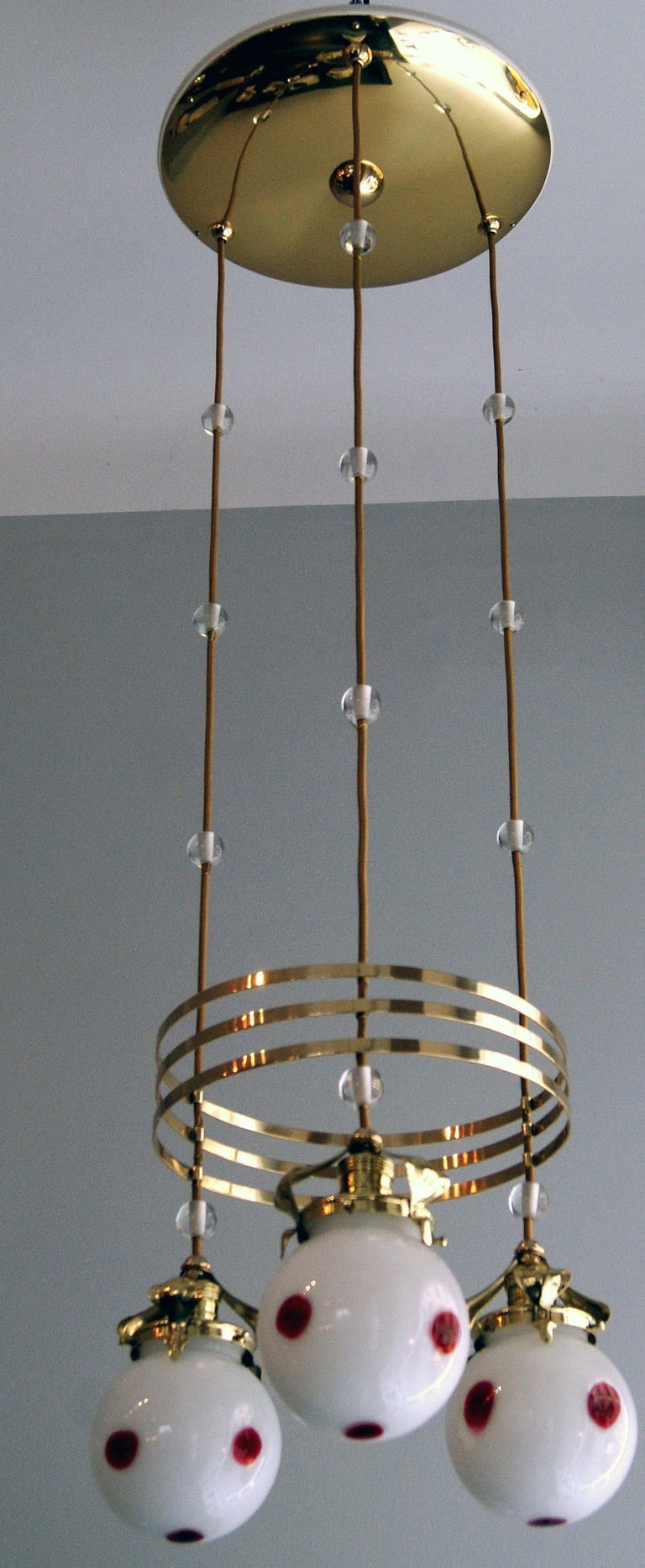 Early 20th Century Art Nouveau Ceiling Lamp Chandelier Design Kolo Moser by Bakalowits, Vienna 1910 For Sale