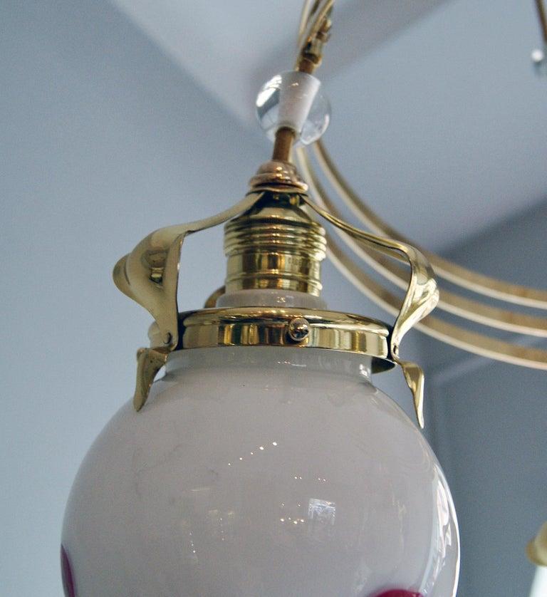 Art Nouveau Ceiling Lamp Chandelier Design Kolo Moser by Bakalowits, Vienna 1910 For Sale 3