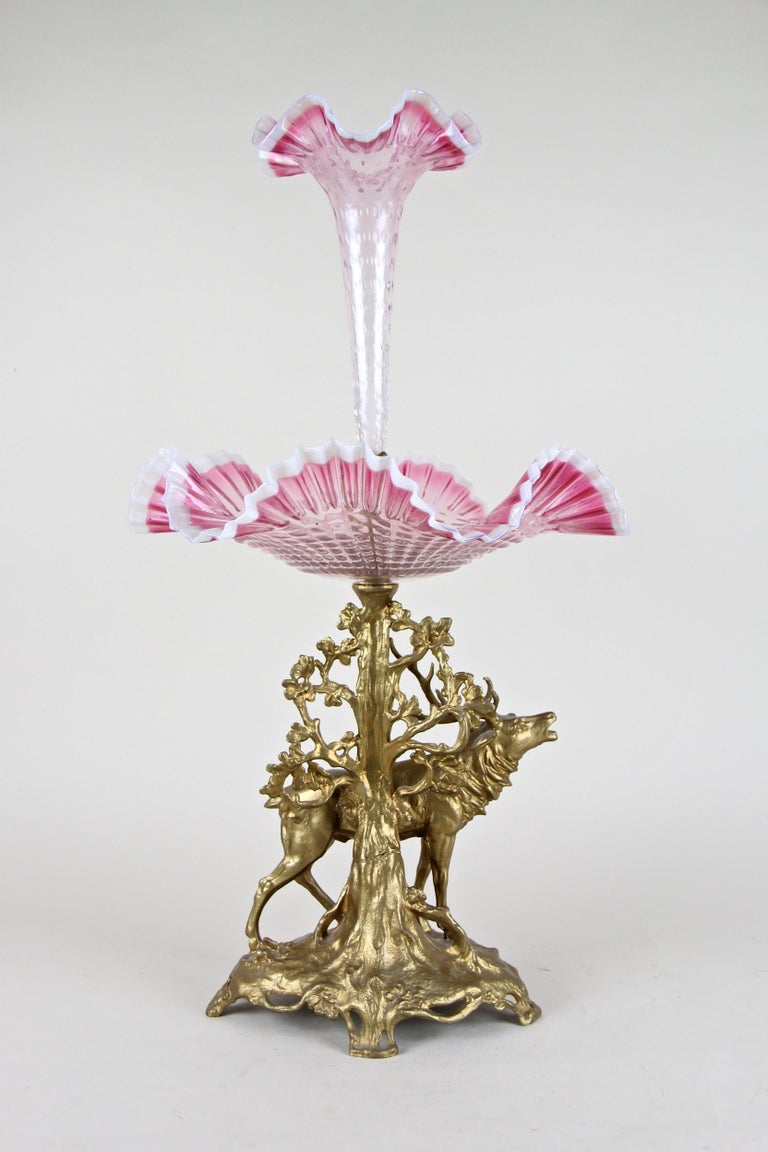 20th Century Art Nouveau Centerpiece with Frilly Glass and Vase, Austria, circa 1900 For Sale